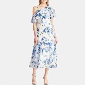 Ralph Lauren Midi Dress Floral-Print Georgette 12